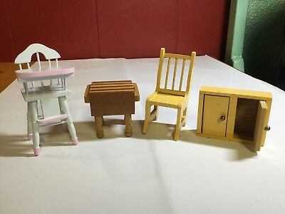 Vintage Wooden Dollhouse High Chair Cupboard Chair Butcher Block Table