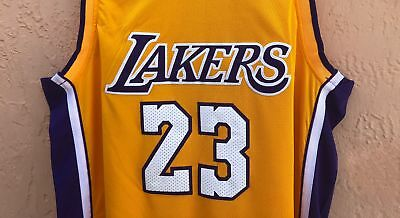 3979449cb NWT Lebron James  23 Los Angeles Lakers Swingman Jersey Stitched Yellow LBJ
