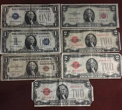 Lot of 7 - 1928, 1934, 1935 Bank $1 & $2 Note, Red Seal, Funnyback, Hawaii, Etc.