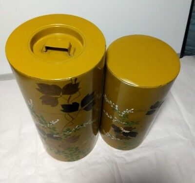 2 Vintage Metal Canisters Mustard Yellow W/ Painted Flowers and Leaves