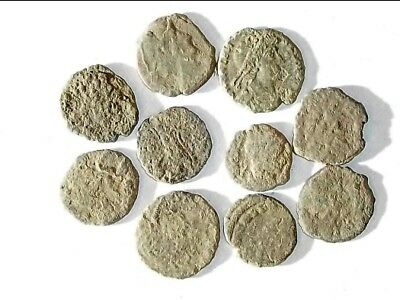 10 ANCIENT ROMAN COINS AE3 - Uncleaned and As Found! - Unique Lot X25939