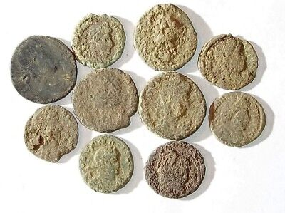 10 ANCIENT ROMAN COINS AE3 - Uncleaned and As Found! - Unique Lot 25915
