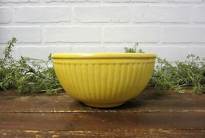 """Vintage Antique Ribbed Pottery Yellow Mixing Serving Bowl 9"""""""