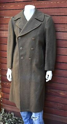 WWI army green heavy wool trench coat reproduction L XL