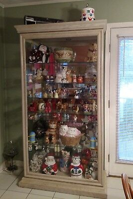 HUGE Solid Heavy Wooden 7 shelf glass Mirrored Lighted curio display cabinet