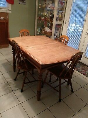 RARE Antique 1920's Tambour roll top Extendable dining room table with 4 chairs