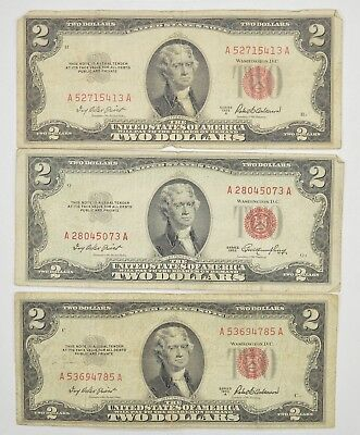 Lot (3) Red Seal $2.00 US 1953 or 1963 Notes - Currency Collection *276