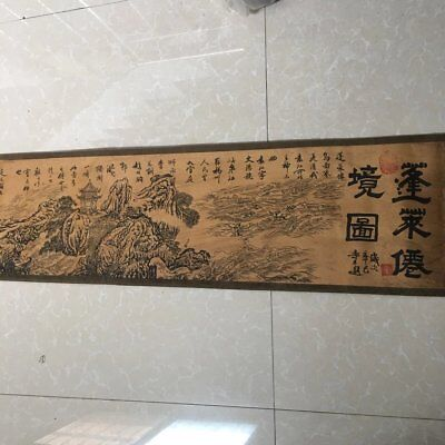 "chinese old paper painting ""penglai fairyland""  scroll painting mural b01"