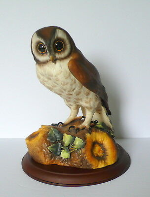 "Royal Crown Derby Large Porcelain Brown Owl 10"" Signed  H.Prinle With Wood Stand"