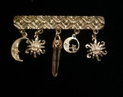 VTG Sterling Silver Celestial Bar Pin Brooch Crescent Moon Sun Dangling Charms