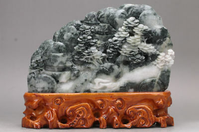 Exquisite 100% Natural dushan Jade Hand Carved Moutain  Statue  xd10