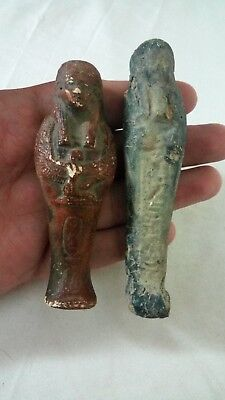 2 ANCIENT EGYPTIAN ANTIQUE USHABTI Statue Limestone 1963-1758 BC