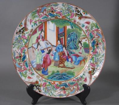 Nice Antique Chinese Famille Rose Plate With Figures, Rose Mandarin, Mid 19THC