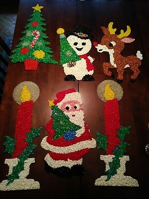 6 vintage melted popcorn plastic christmas decorations santa frosty rudolph more