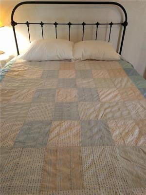 1900's WATER COLORS QUILT TOP - SHIRTING MATERIAL SOFT COLORS/TEXTURES FARMHOUSE