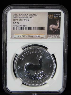"""2017 NGC SP70 South Africa 50th Anniversary """"Early Releases"""" Silver Krugerrand"""