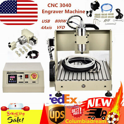 800W 4Axis USB CNC 3040 Router Metal Engraver Milling Machine VFD Ball Screw NEW