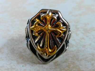 Heavy Medieval Knight Tribal Cross Bikers Ring Size 9 1/2