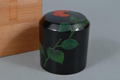 R494: Japanese Wooden Lacquer ware Ryukyu coating Flower sculpture TEA CADDY