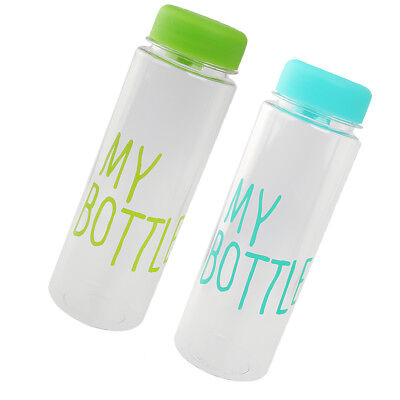Pack of 2 Portable Sport Travel Plastic Fruit Juice Water Bottle Cup 500ML