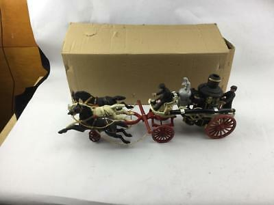 Vintage New Cast iron 3 Horse Drawn Fire Hose Wagon With Two Men