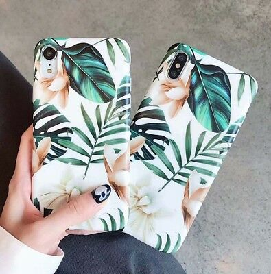 Retro Flower Leaf Back Soft Phone Case Cover For iPhone XS X 8 7 6 6S Plus