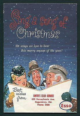 Vintage Freebie Advertising Booklet ESSO Motor Oil Sing A Song of Christmas 1953