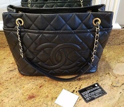 2c12ca54a CHANEL BLACK CAVIAR Leather Quilted Timeless CC Shopping Tote Bag ...