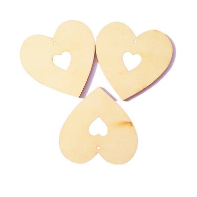 25pcs Vintage Unfinished Heart Wooden Pieces Craft with Cutout Heart Hole