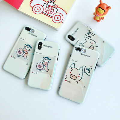For iPhone XS Max XR X 8 7 6s 6 Plus Cute Pig Blue Ray Soft Silicone Phone Case