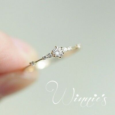 Simple 18K Yellow Gold Filled White Sapphire Ring Wedding Bridal Women Jewelry