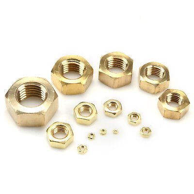 Solid Brass Hexagon Hex Nuts M2/M2.5/M3/M4/M5/M6/M8/M10/M12/M14/M16/M18/M20/M24
