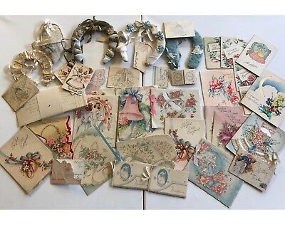 Antique Wedding Cards Invites Horse Shoes Large Lot Used Vintage Marriage Art