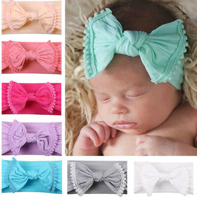 Newborn Baby Big BowknotTassel Hairband Knotted Wide Elastic Headband Turban