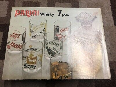 Vintage Whiskey Decanter And Glasses - 7 Pieces In Original Box. Made In Italy
