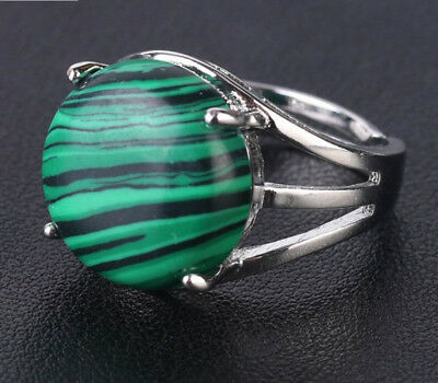 R674F Ring Silve Plated with Malachite Green round Adjustable Size