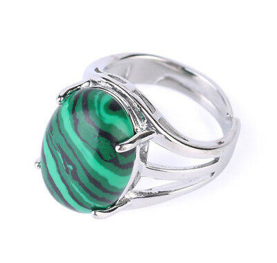 R055F Ring Silve Plated with Malachite Green Oval Adjustable Size