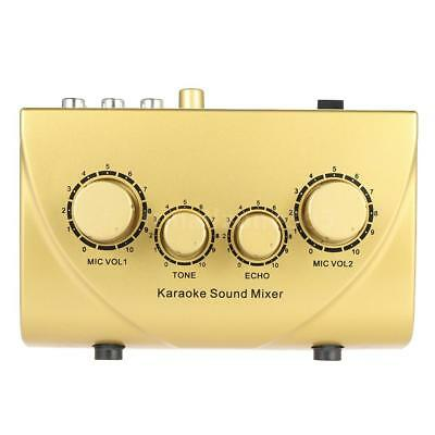 NKR N-3 Karaoke Sound Mixer Dual Mic Inputs With Cable Gold D3C5