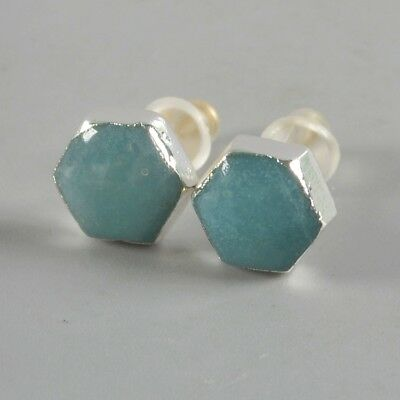 8mm Hexagon Natural Amazonite Stud Earrings Silver Plated B071360