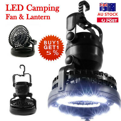 LED Camping Ceiling Fan Light Portable Tent Hanging Hook Hiking Outdoor Lantern