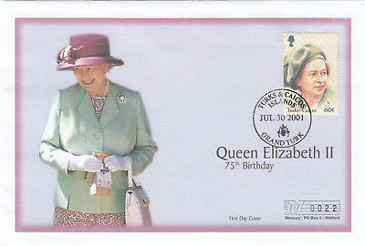 (19406) Turks and Caicos Mercury FDC Queen 75th Birthday 30 July 2001