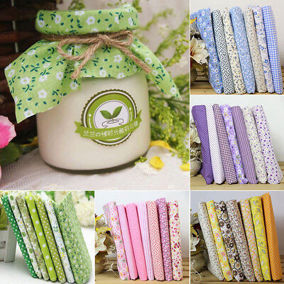 7pcs DIY Squares Pre Cut Charm Cotton Quilt Fabric Fat Quarters Bundles 25x25cm