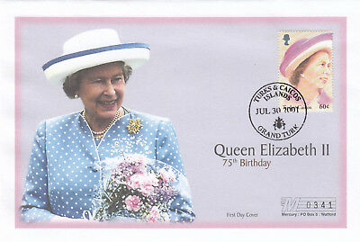 (19416) Turks and Caicos Mercury FDC Queen 75th Birthday 30 July 2001