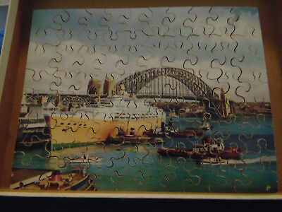 P&O Cruises S.S Oriana in Sydney Harbour Souvenir Victory Wood Jig-Saw Puzzle