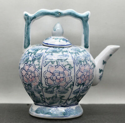 Vintage Chinese Melon Shaped High Handle Hand Painted Porcelain Teapot