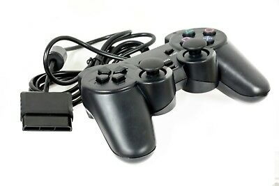 NEW Wired Black Dual Shock Controller for PS2 PlayStation Joypad Gamepad UK Pad