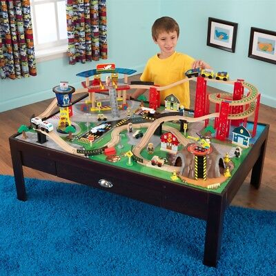 KidKraft Airport Express Train Set and Table In Espresso Kids Boys Toy Track NEW