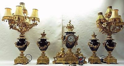 MONUMENTAL NEARLY 3ft HIGH 5 PIECE GARNITURE 19c FRENCH COLBOLT BLUE GILT BRONZE