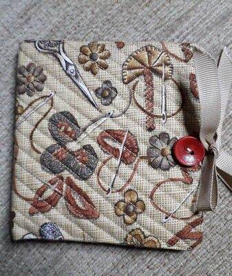 Quilted Handmade Needle Book sewing Fabric wooden red  button