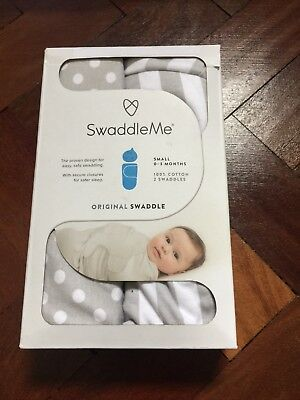 SwaddleMe Grey 100% Cotton Original Swaddle 2-pack Small 0-3months 7-14lbs